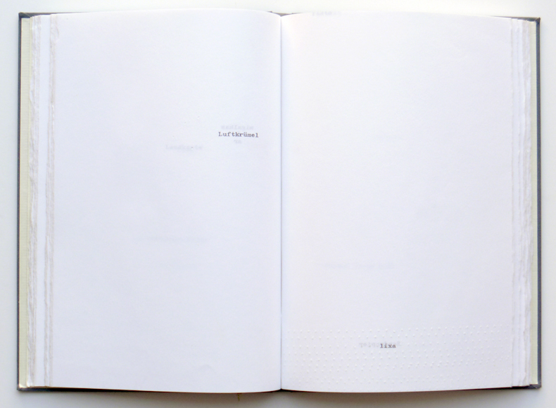 'Book 3', wholes and typewriting on paper, 24 x 17 cm, 1995