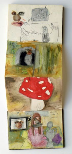 from the  leporello 'The Bavarian Worm', 48 pages, graphite, oil pastel, watercolour and collage on paper, 2005