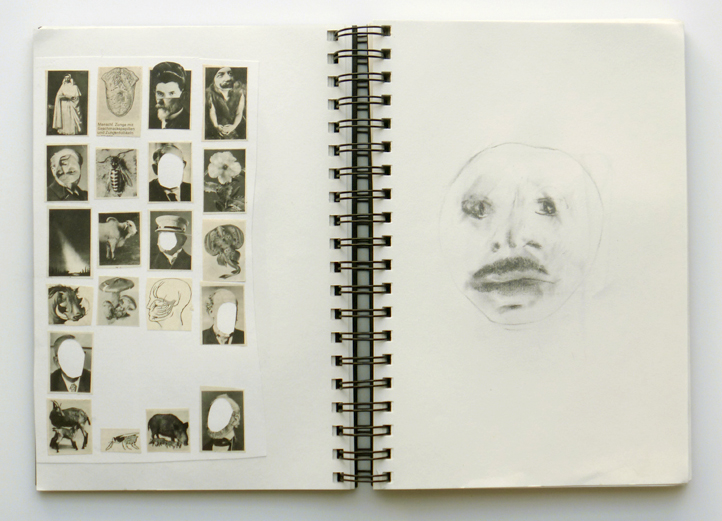 'Mhm (Portaits)', 172 pages, graphite, charcoal, collage, 25,5 x 20 cm, 2001 - 2006