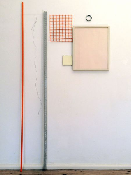 '1,9 m2 (one circle, squares, some lines and one horizon)', nails, paint on iron, graphite, wire, pvc, tile, graph paper with frame and glass, 190 × 100 x 4 cm, 2013