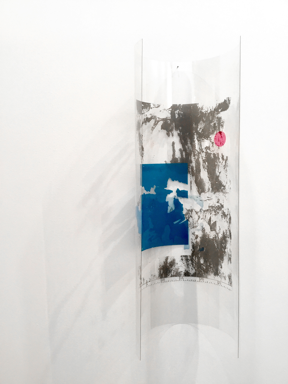 'A5 + - P.B. + 30 cm + X', 66 x 23 x 17 cm, screen printing on plexiglas, 2016
