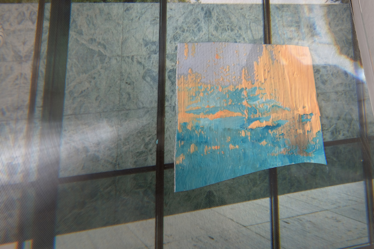 'After Oblivion (Thought out of the Silence)', detail: oil on canvas on digital print of Mies van der Rohe's Barcelona-Pavillon, loupe foil