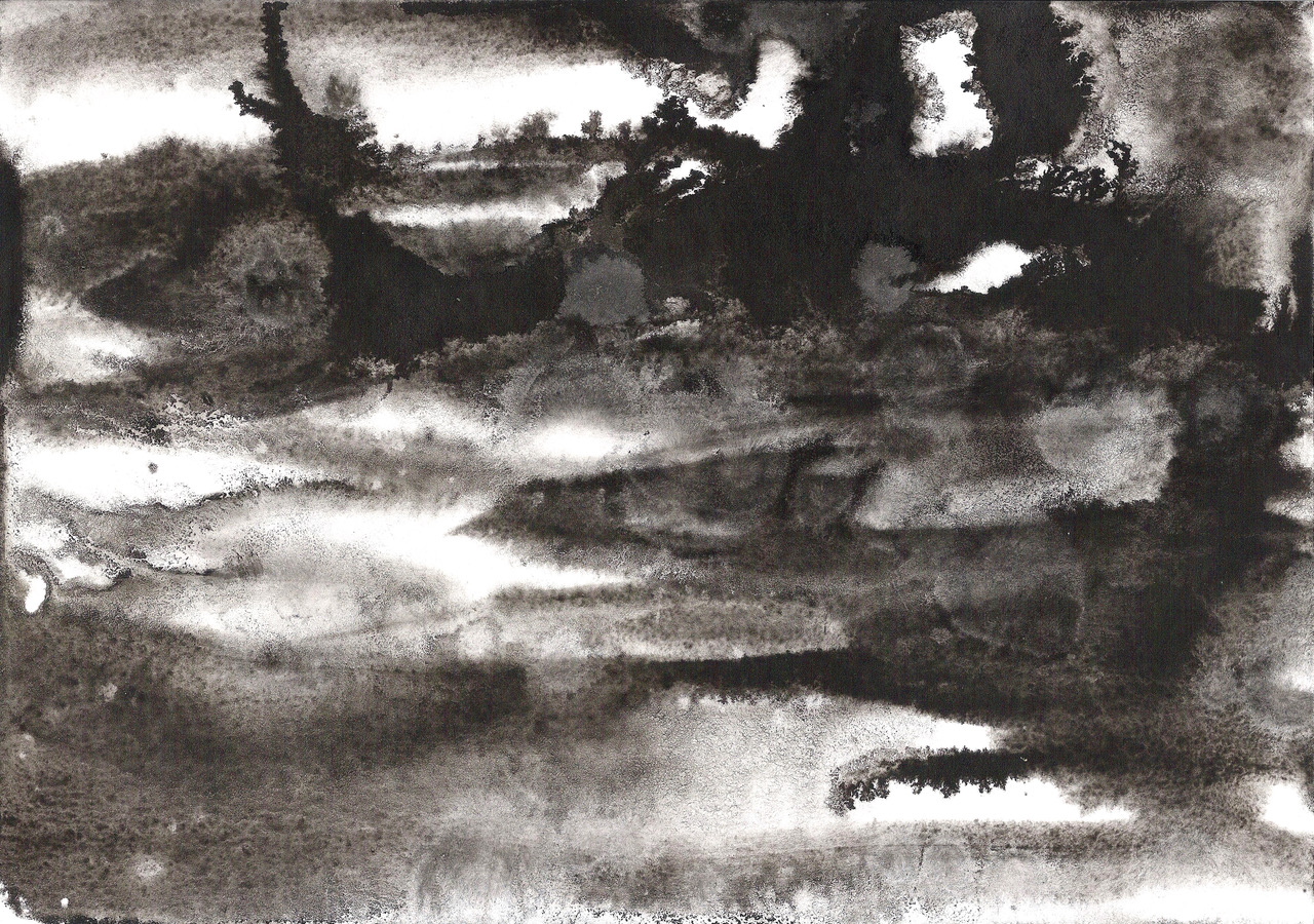 'The Line in the Landscape' (detail), China ink, DIN A4, 2018
