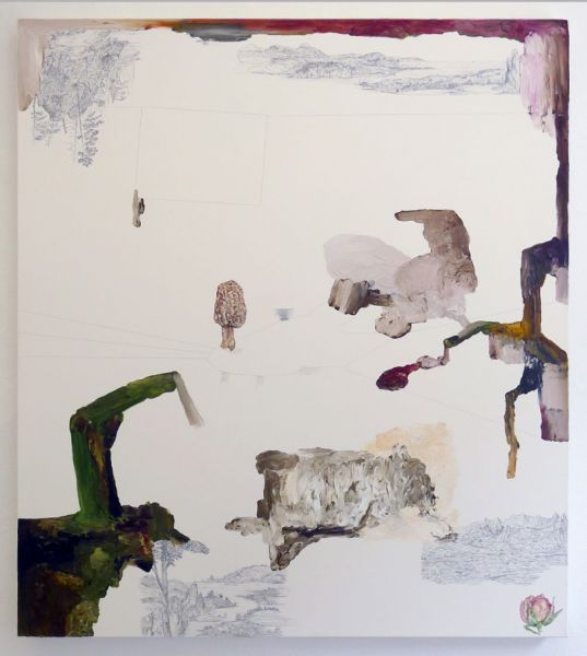 from the series 'Drei Zeichnungen und ein Wesen', graphite, watercolour and oil on canvas, 150 x 130 cm, 2012