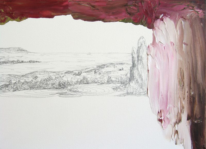 from the series 'Drei Zeichnungen und ein Wesen' (detail), graphite and oil on canvas, 2012