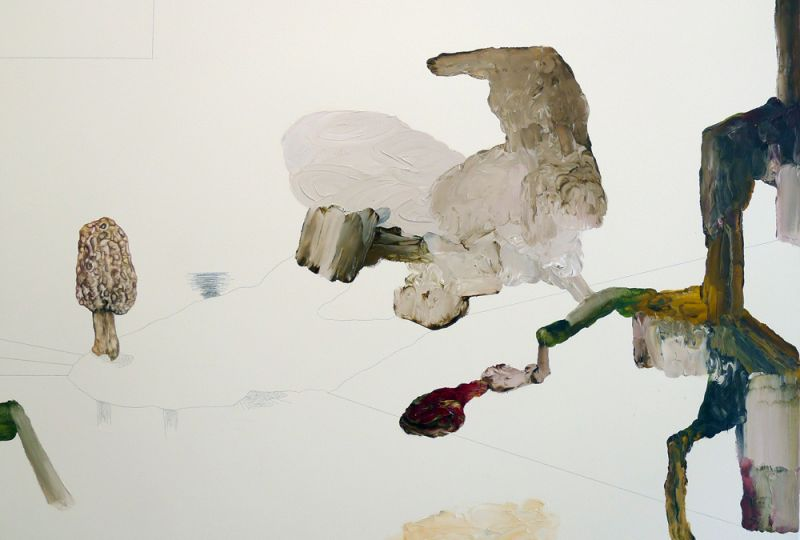 from the series 'Drei Zeichnungen und ein Wesen' (detail), graphite, watercoulor and oil on canvas, 2012