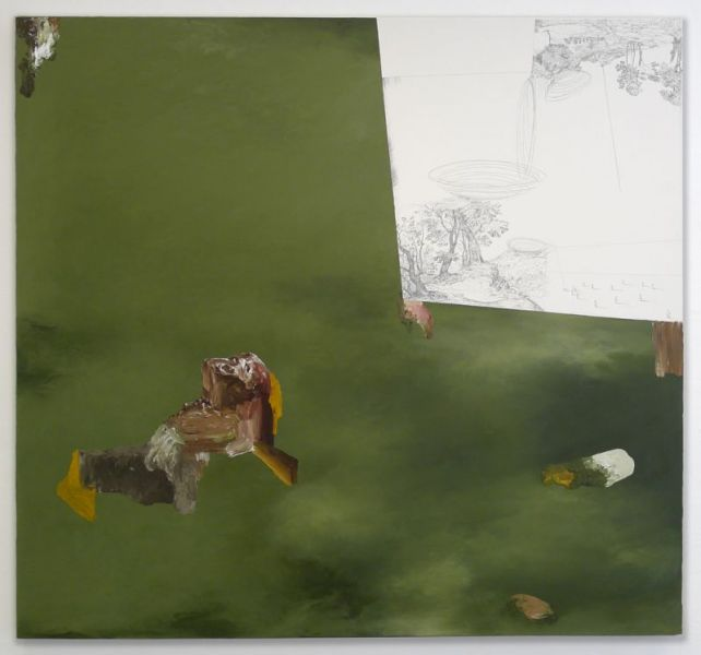 from the series 'Drei Zeichnungen und ein Wesen', graphite and oil on canvas, 150 x 160 cm, 2012