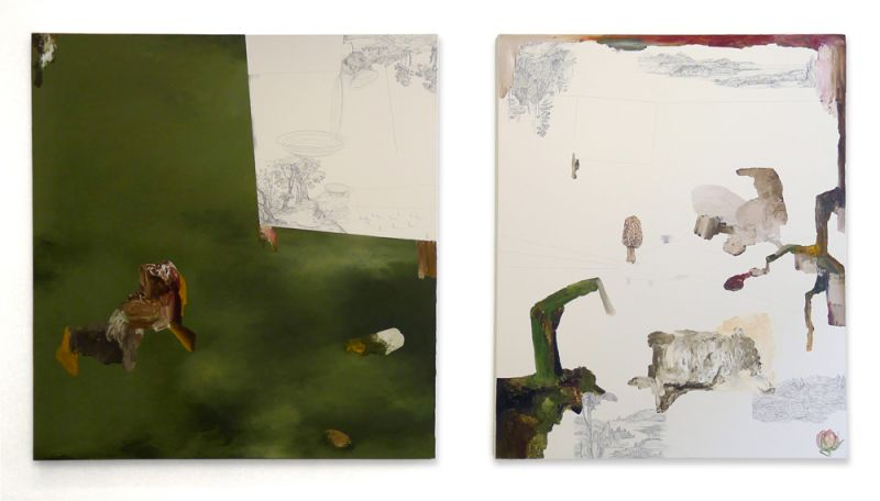 from the series 'Drei Zeichnungen und ein Wesen', graphite, watercolour and oil on canvas, 150 x 160 cm (left), 150 x 130 cm (right), 2012