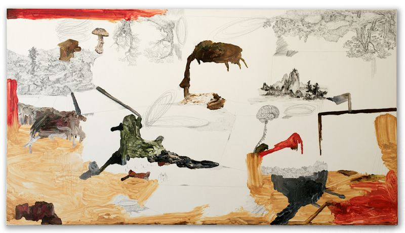 from the series 'Drei Zeichnungen und ein Wesen', graphite, watercolour and oil on canvas, 110 x 200 cm, 2012