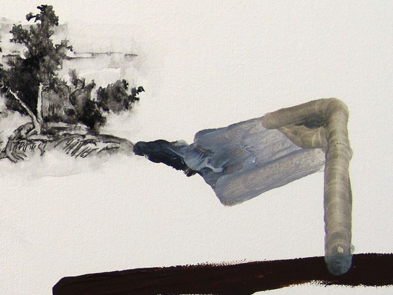 from the series 'Drei Zeichnungen und ein Wesen' (detail), watercolour and oil on canvas, 2012