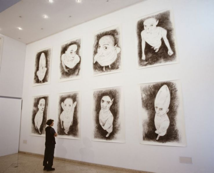 from the series 'Harmless Solitaries', charcoal on paper, 200 x 140 cm each, exhibition view Casa Fernando Pessoa, 2000, Lisbon (PT)