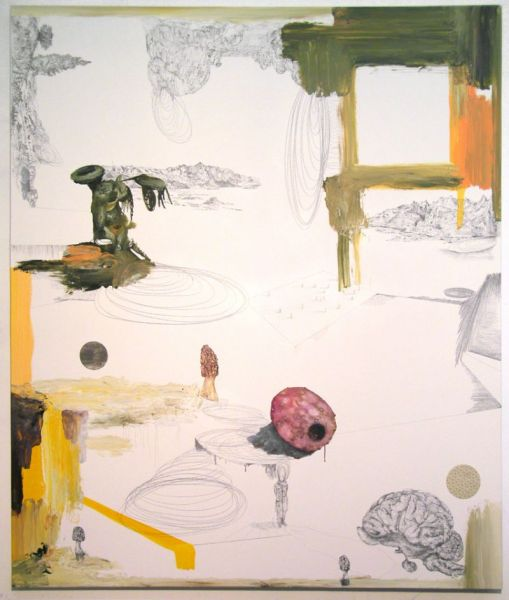 from the series 'Trans-Planas & Trans-Plantas', collage with wallpaper and offsetprinting, graphite, oil and watercolour on canvas, 180 x 150 cm, 2011/2012