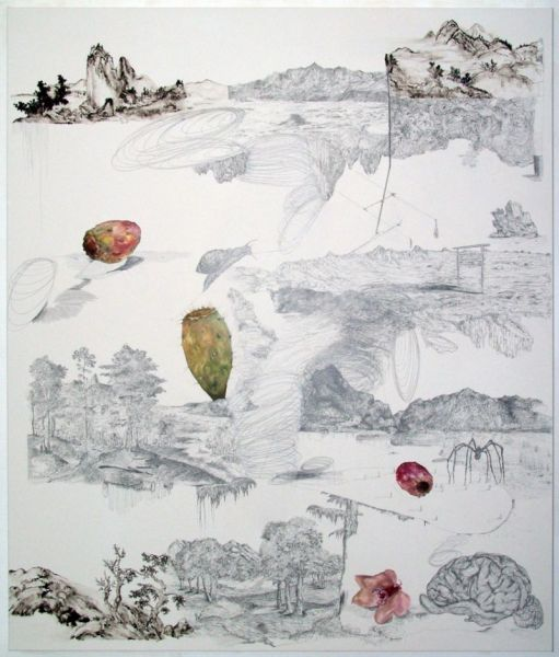 from the series 'Parallel Landscapes / SSDT Shifted', watercolour and graphite on canvas, 180 x 150 cm, 2011