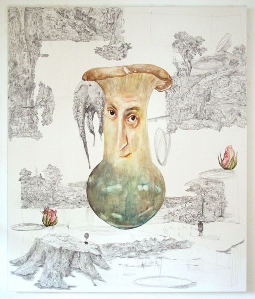 from the series 'Parallel Landscapes / SSDT Shifted', water-soluble wax pastels and graphite on canvas, 180 x 150 cm, 2011
