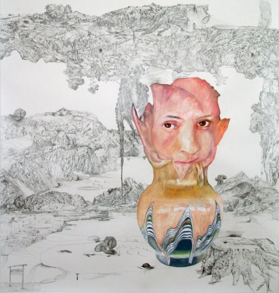 from the series 'Trans-Planas & Trans-Plantas', water-soluble wax pastels and graphite on paper, 125 x 115 cm, 2011