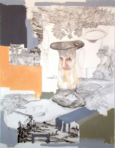 from the series 'Trans-Planas & Trans-Plantas', water-soluble wax pastels, oil and graphite on paper, 142 x 115 cm, 2011