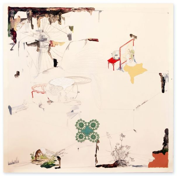 from the series 'Oh,...', oil, watercolour, graphite, crayon and crochet work on paper, 141 x 141 cm, 2012