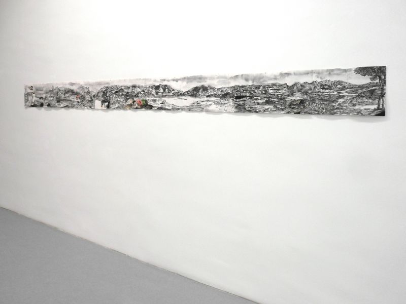 'Panorama... se bifurcan y solapan', india ink and oil on paper, 28 x 373 cm, 2012