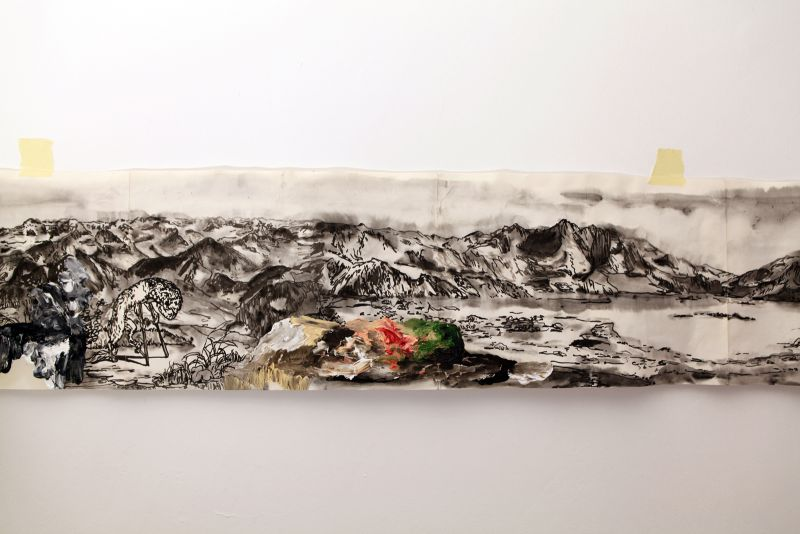 'Panorama... se bifurcan y solapan' (detail), india ink and oil on paper, 2012