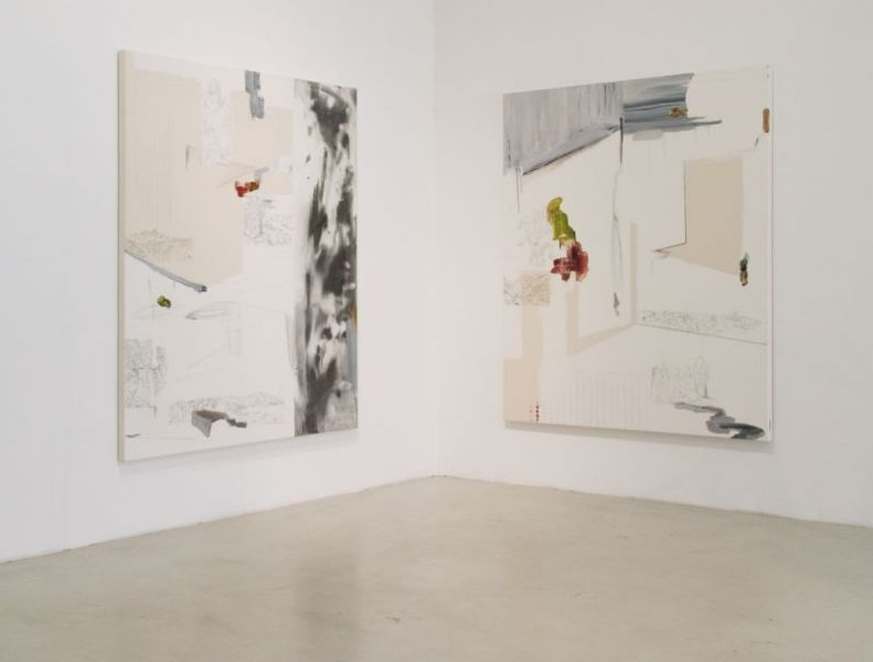 'The Dormouse Is Asleep Again', oil and graphite on canvas, 190 x 160 cm each, 2014, partial exhibition view: 'Alligators all Around', Kunstraum Düsseldorf (DE)