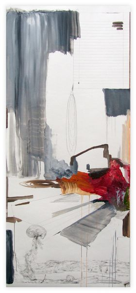'Down there', oil and graphite on paper, 150 × 67 cm, 2013