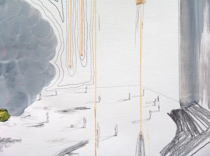 'if..., the horizon' (detail), oil and graphite on paper, 150 x 73 cm, 2013