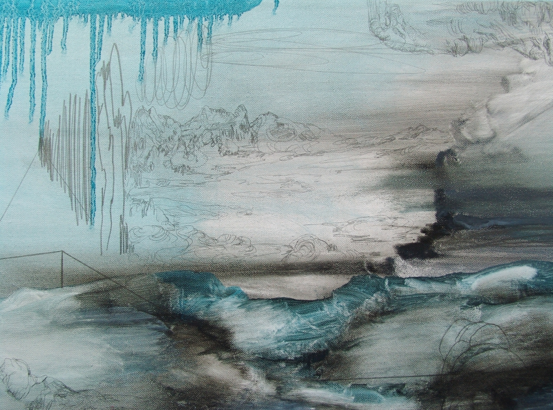 'And Slopes That Plunge Into The Shade', detail: oil and graphite on canvas, 2016