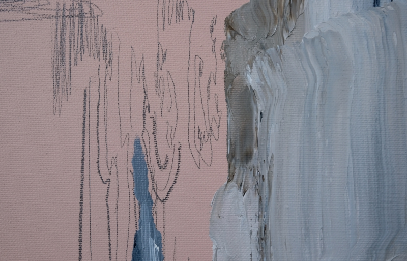 'The Shadow That Was Not There', detail: graphite and oil colour on acrylic colour on canvas, 2017