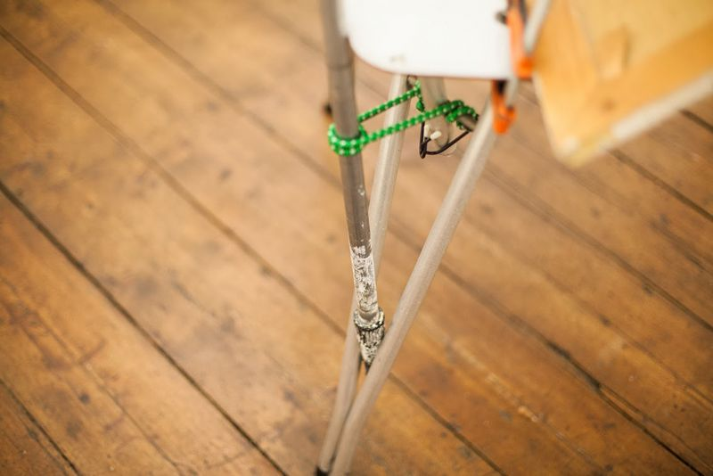 '45º' (detail), table, c-clamp, rubber cord, extensive handle, canvas, 2014