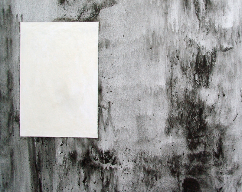 'Rest. For example, in a DIN A4' (detail), graphite and acrylic paint on canvas