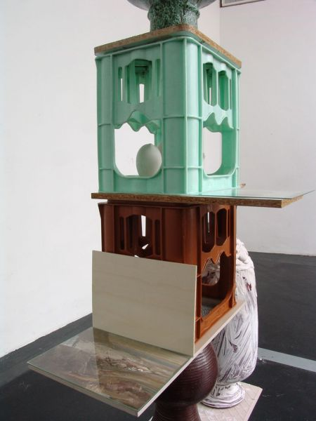 'untitled (Deutscher Brunnen with painting)', detail: bottle boxes, ceramics, flagging, glass, plaster, formica, wood, oil on paper, 2014