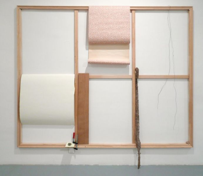 'Drawing with Two Curved Lines and A Snail', nails, stretcher frame, paper, wallpaper, board, bronze, snail shell, tile, fossil, c-clamp and wire, 220 x 230 x 15 cm, 2012