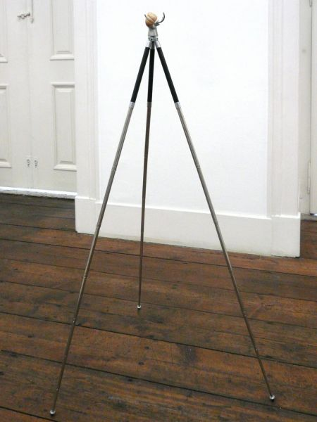 'Self-Portrait', tripot, steel, snail shell and paste, 110 x 50 x 50 cm, 2012