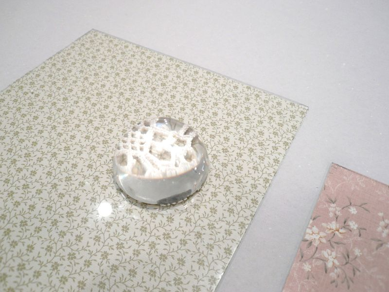 'Still Life' (detail), glass, wallpaper, loupe and crochet work, 2010 - 2013