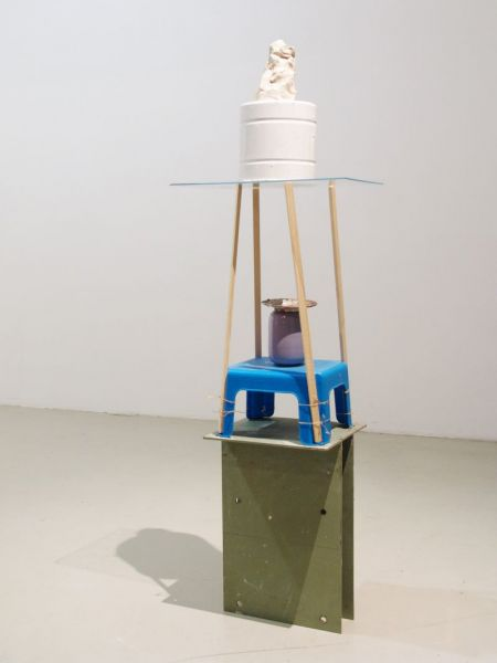 ''The Dormouse Is Asleep Again', painted steel, plastic stool, wire, ceramic vase, oil paint on plate, precious stone, wood, acrylic glass, enamel coated pot, white clay, 140 x 50 x 45 cm, 2014