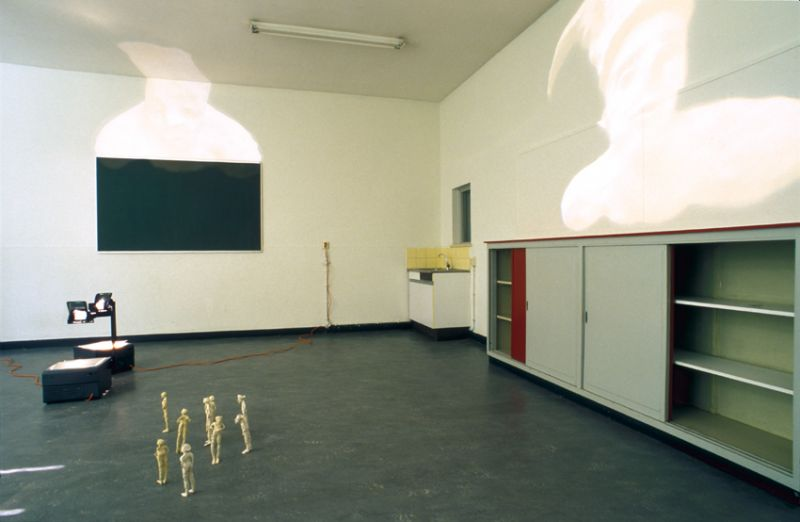 from the series 'Spectrals', terracotta and overhead-projection, 1996, exhibition view Amstelveen (NE)